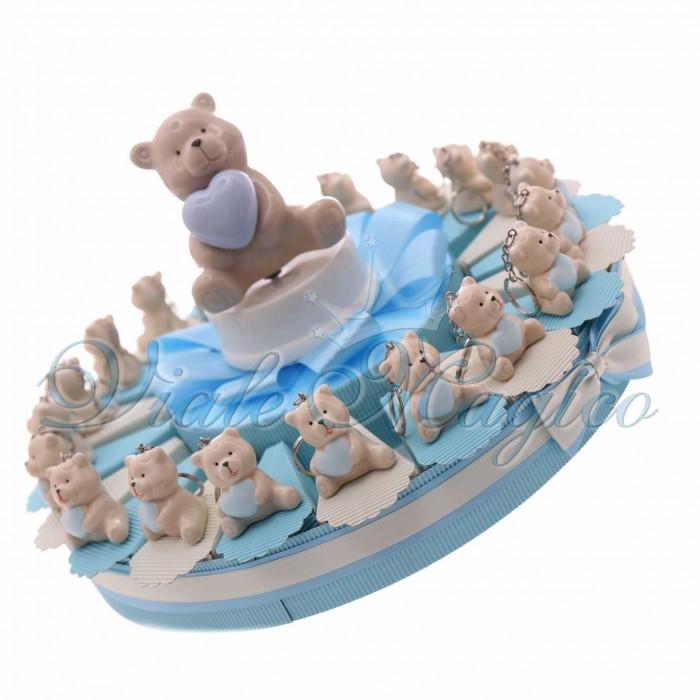 Torta Bomboniere Nascita Battesimo con Portachiavi Orsetto Heart Bimbo