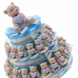 Torta Confetti con Statuina Orsetto Heart Bimbo