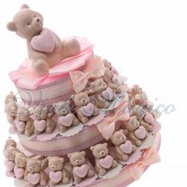 Torta Bomboniere con Statuina Orsetto Heart Bimba