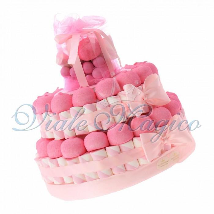 Vendita Torta Marshmallow Caramelle per Nascita Bimba 2 piani Confettata