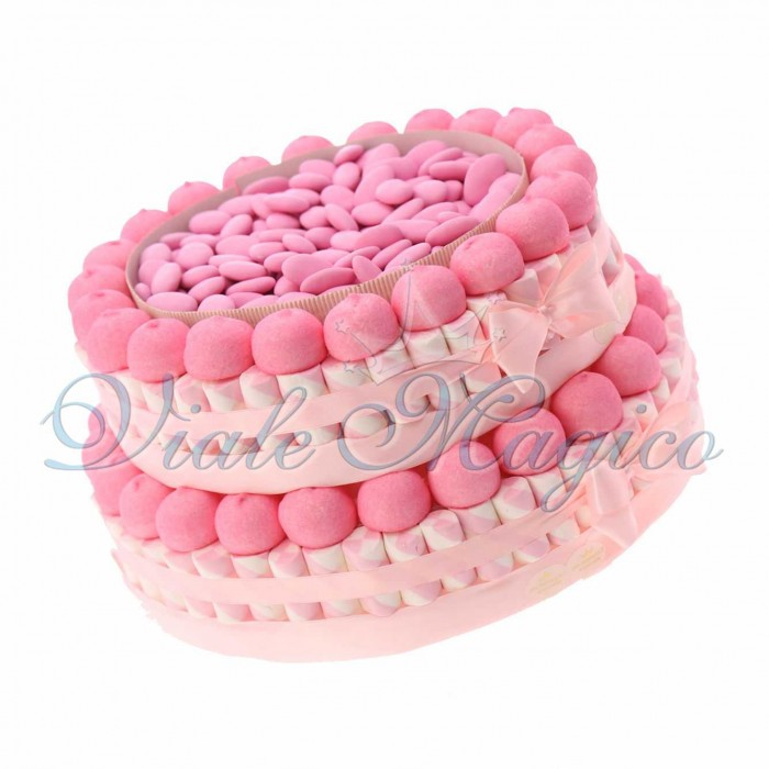 Torta Marshmallow Caramelle per Comunione Primo Compleanno Bimba 2 piani