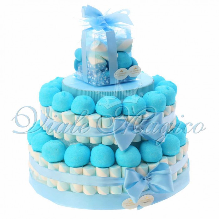 Torta Marshmallow Nascita Battesimo Caramelle per Bimbo 2 piani