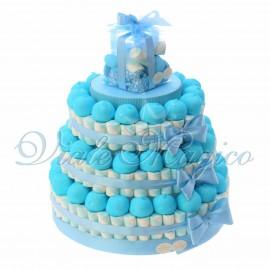Torta Caramelle Nascita Compleanno per Bimbo 3 piani Marshmallow