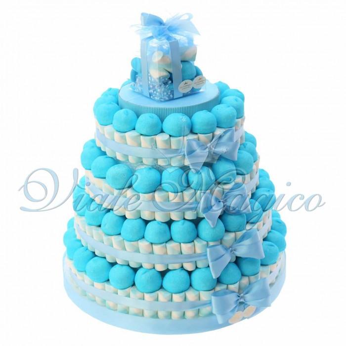 Torta Caramelle Primo Compleanno per Bimbo 4 piani Marshmallow