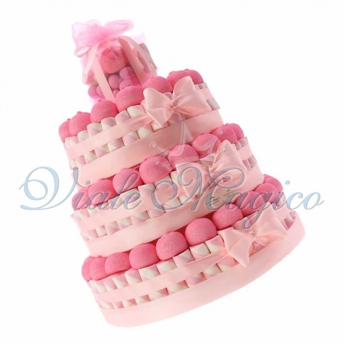 Vendita Torta Caramelle per Nascita e Battesimo Bimba 3 piani Marshmallow