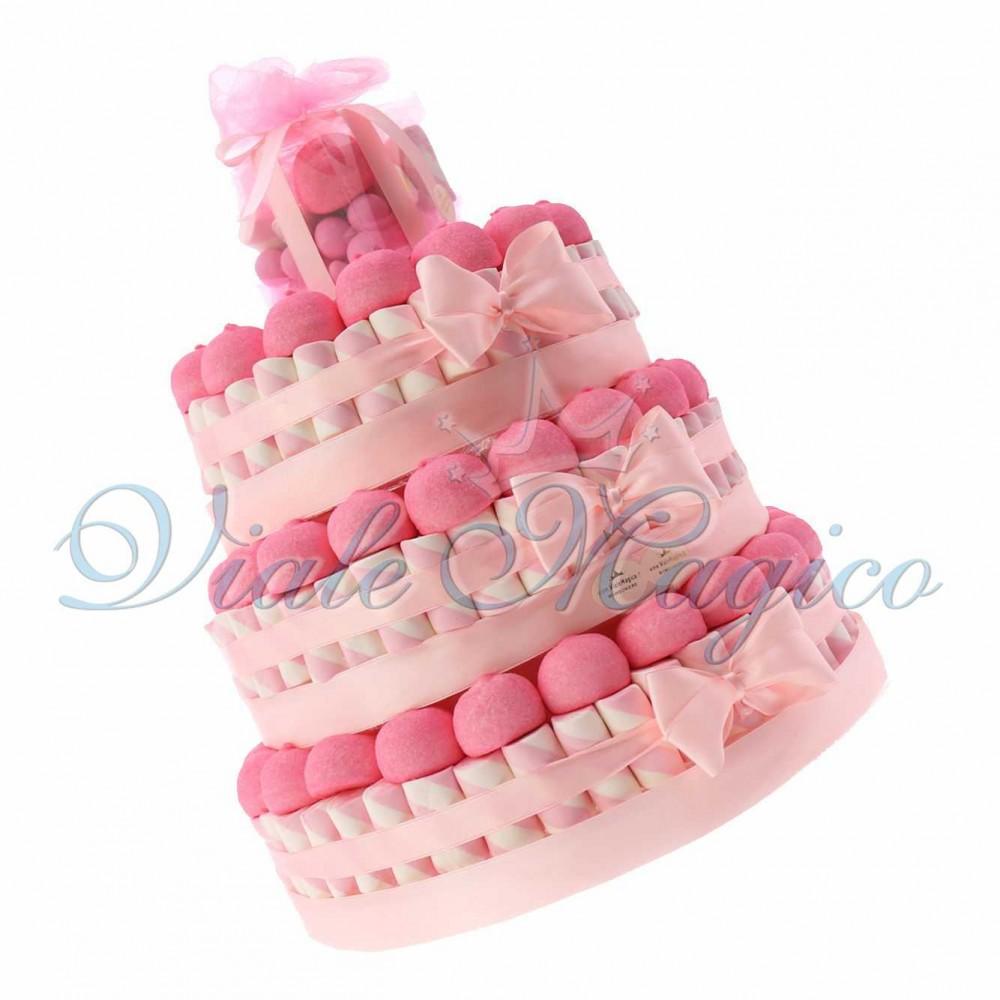 Favorito Torte Caramelle Marshmallow Battesimo Comunione Bimba Confettata EE69