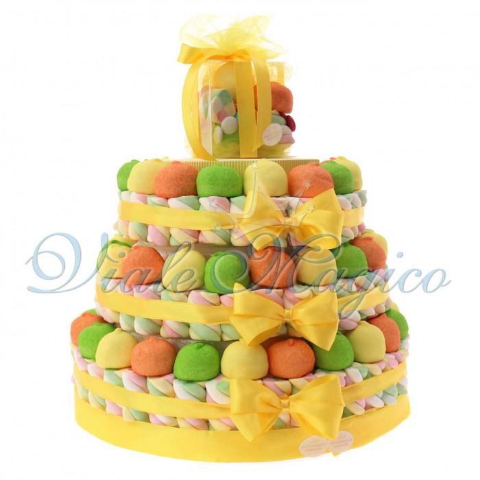 Torta Caramellata e Confettate Marshmallow per Compleanno 3 piani