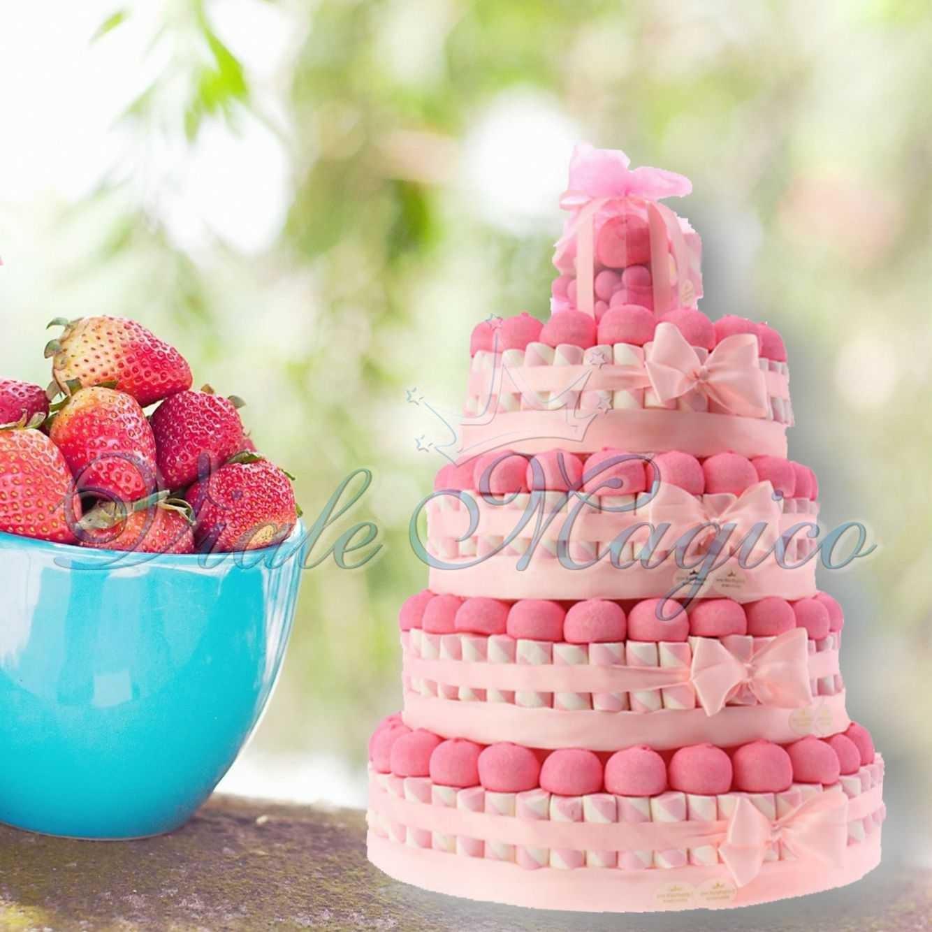 Super Torte Marshmallow Caramellata Battesimo Comunione Bimba Confettata RN73