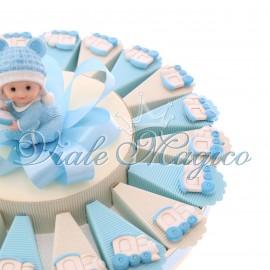 Torta Bomboniere per Battesimo Nascita Confetti Magnete Trenino Pupo