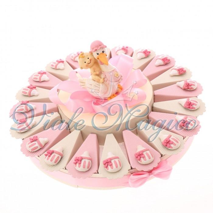 Torta Bomboniere Battesimo Nascita Bimba con Magnete Biberon Pupa