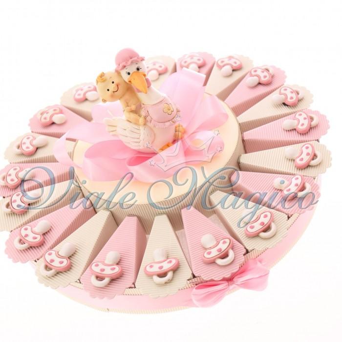 Torta Bomboniera Nascita Battesimo Bimba Confetti con Magnete Ciuccio Pupa