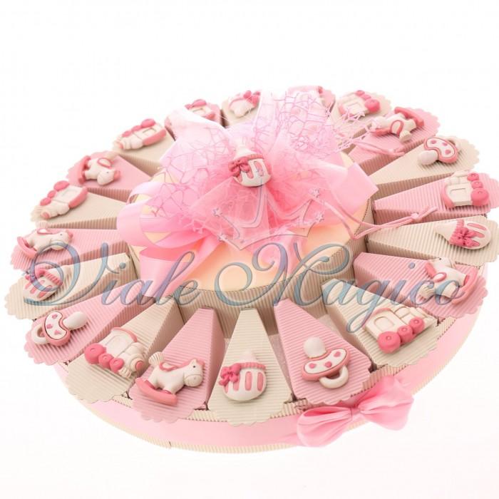 Torta Bomboniera Nascita Battesimo Bimba Baby Shower con Magnete Mix Pupa