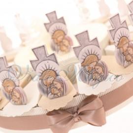 Torta Bomboniera Battesimo Comunione Cresima con Statuina Croce Sacra Famiglia