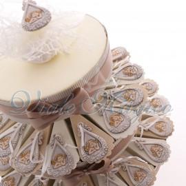 Torta Bomboniere Battesimo con Appendino Goccia Angioletto Confettata