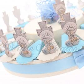 Torta Bomboniere Battesimo Bimbo con Statuina Croce Battesimale Offerte Low Cost