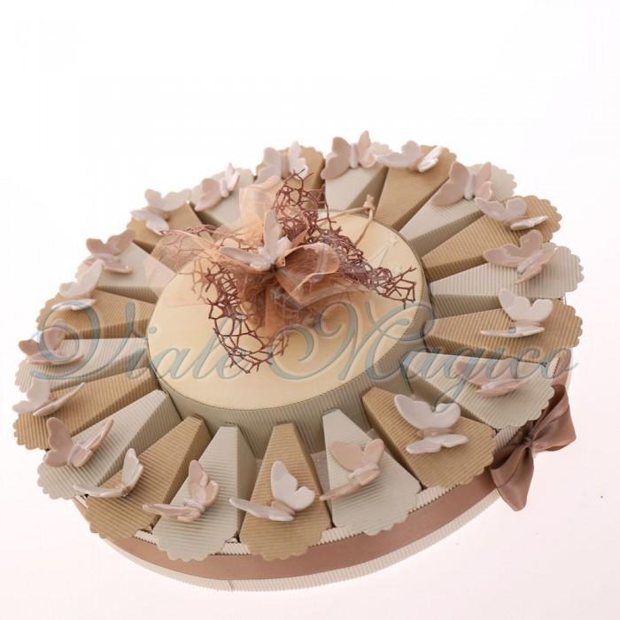 Torta con Magnete Farfallina in Porcellana