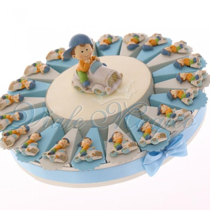 Torta Bomboniere Economiche Primo Compleanno con Magnete Bimbo in Vespa