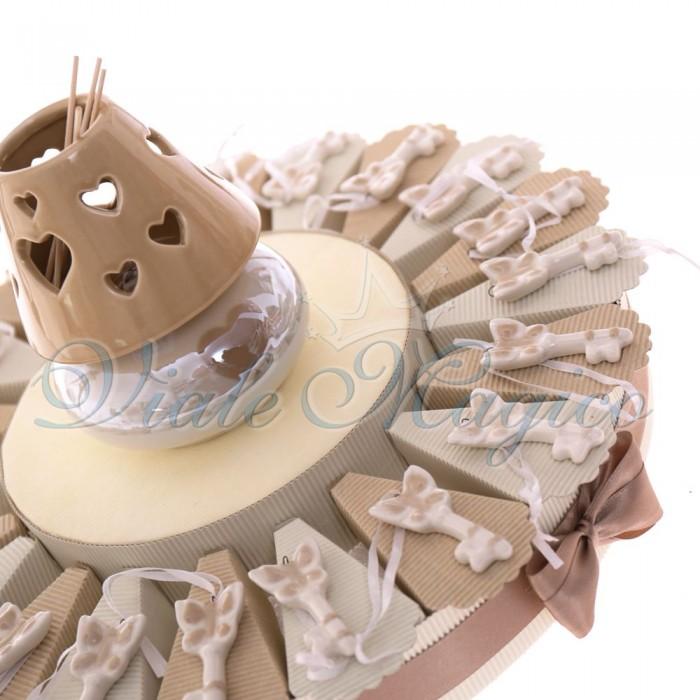 Torta con Appendino Chiave con Cuore in Porcellana