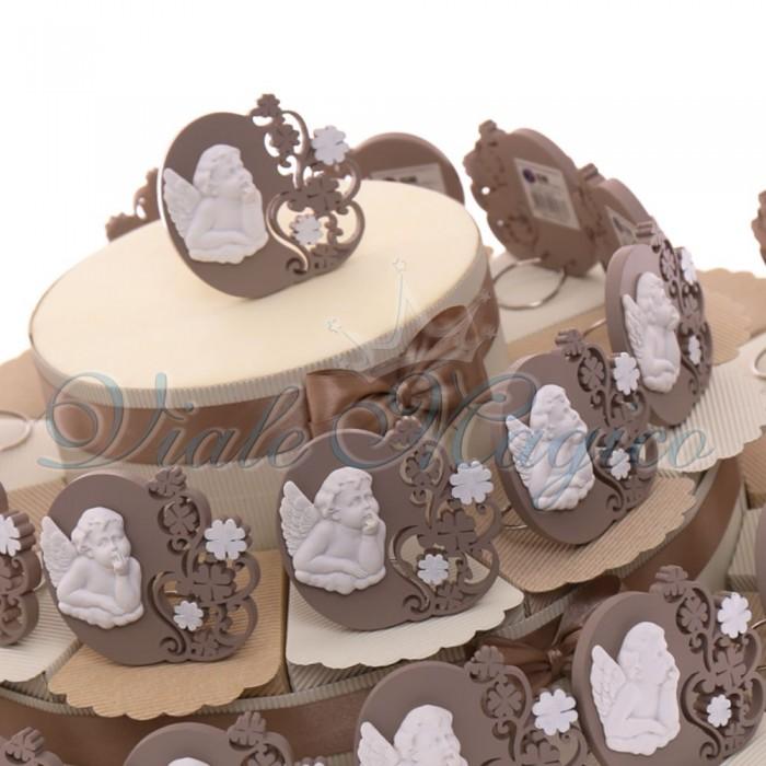 Vendita Torte Online Quadretto con Angioletto Linea Tortora Confettata