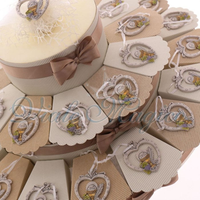 Maxi Torta con Appendino Cuore Pois con Calice