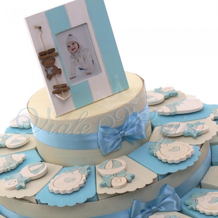 Torta Bomboniere Nascita Battesimo con Magnete Collezione Fanciullo Confettata Bimbo