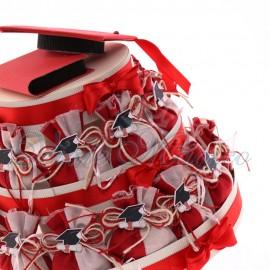 Torta con 25 Sacchetti Bicolore con Applicazione Tocco Laurea