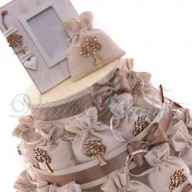 Bomboniere Matrimonio Tema Albero della Vita Alzatina Sacchetti Elegante