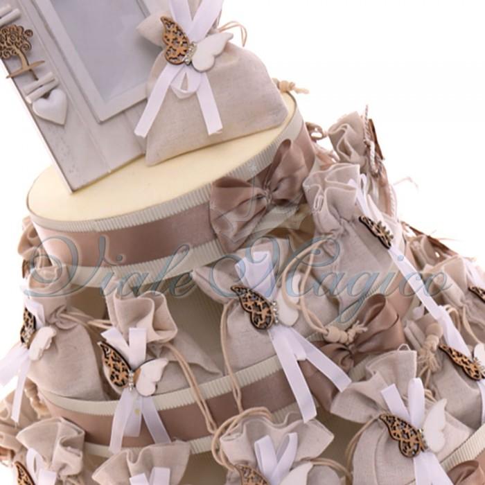Torta Bomboniere Matrimonio Sacchetti Tema Farfalla Strass Confettata