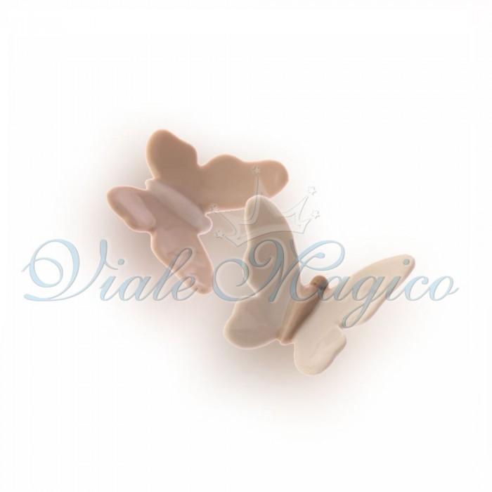 Bomboniere Matrimonio Magnete Farfalla in Porcellana Bianche e Beige