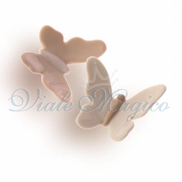 Bomboniere Faidate Matrimonio Maxi Magnete Farfalla in Porcellana Bianche e Beige
