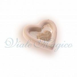 Magnete Cuore in Porcellana Bianche e Beige
