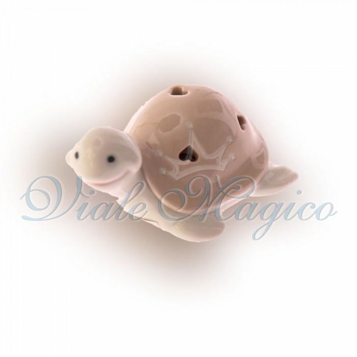 Bomboniere Portafortuna Compleanno Tartaruga in Porcellana con Luce a Led