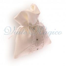 Bomboniera Matrimonio Sacchettino Confettata 10 PZ Bianco Flower Strass