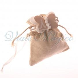 Bomboniere Matrimonio Faidate Sacchetti 10 PZ Beige Applicazione Farfalla