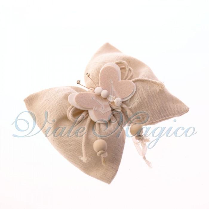 Sacchettame Bomboniere 10 PZ Sacchetti Papillon Beige Applicazione Farfalla