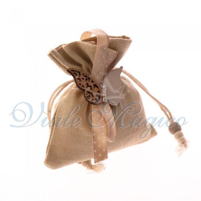 Bomboniere Matrimonio 10 PZ Sacchetti Beige Applicazione Farfalla in Legno