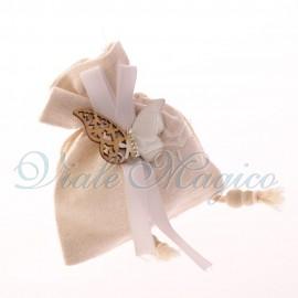 Bomboniere Matrimonio Eleganti10 PZ Sacchetto Bianco Applicazione Farfalla in Legno