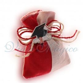 10 PZ Sacchetti Rossi Bicolore con Tocco e Pergamena