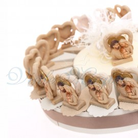 Bomboniere Torta Cuore in Pietra con Sacra Famiglia