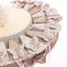 Bomboniere Festa  Tema Farfalle Torta con Appendino Farfalline Pois in Porcellana