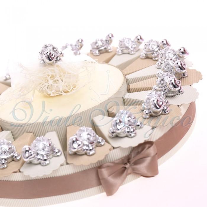 Bomboniere Compleanno 50 Anni con Tartaruga Argentata Elegante con Confetti
