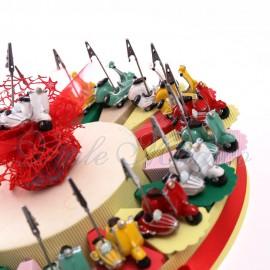 Festa Compleanno Vintage Torta Bomboniere con Memoclip Sidecar Ragazzo