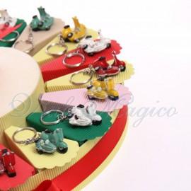Torta Bomboniere Compleanno Ragazzo con Portachiave Sidecar Vintage