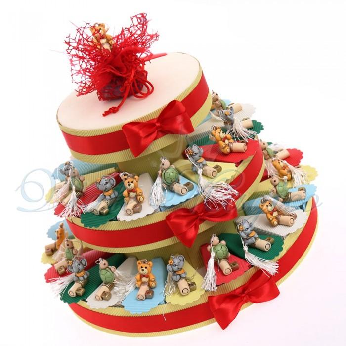 Struttura torta 35 Bomboniere con Chiave Animaletti Assortiti Compleanno