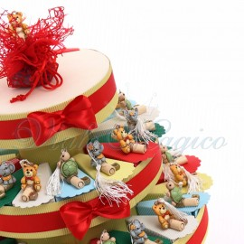 Torta Bomboniere Nascita Battesimo 90 pezzi Chiave Animaletti Nappina Offerte