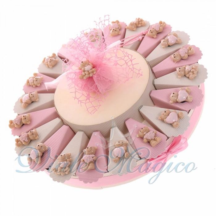 Torte Bomboniere Nascita con Magnete Orsetti Innamorati Bimba Offerte