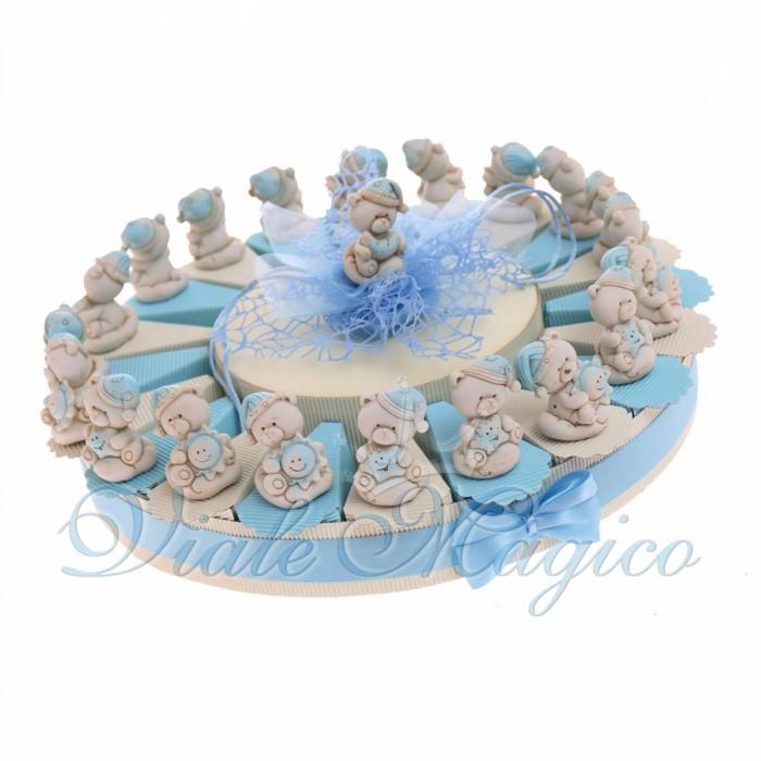 Torte Bomboniere Nascita Bimbo con Statuina Orsetto Pigiamino con Confetti