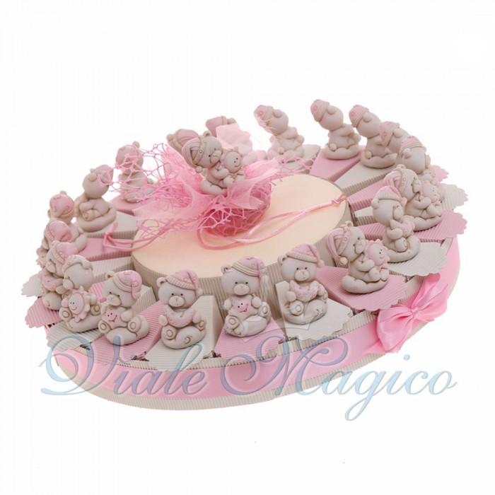 Torte Bomboniere con Statuina Orsetta Pigiamino Bimba