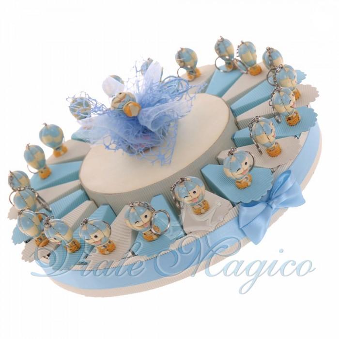 Torta Bomboniere Primo Compleanno Bimbo con Portachiave Mongolfiera Smile Maschio Confettata