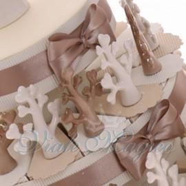 """Torta Matrimonio Bomboniera Tema Albero della Vita e dell'Amore """"White & Brown"""""""